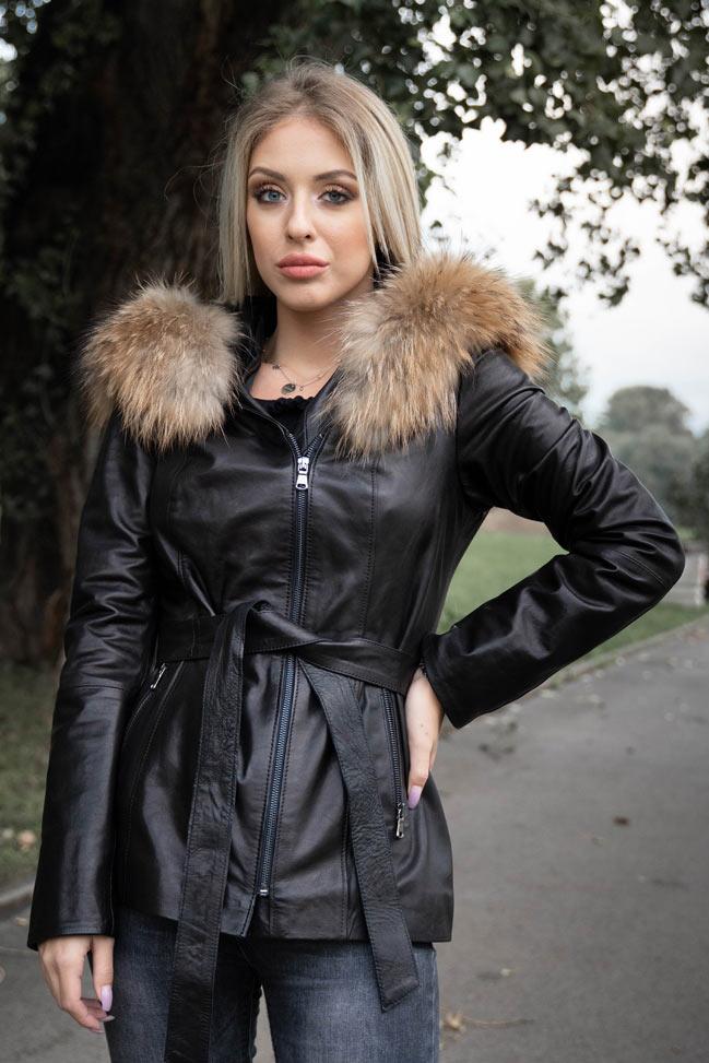 Ženska kožna jakna sa krznom – Petra - natur krzno