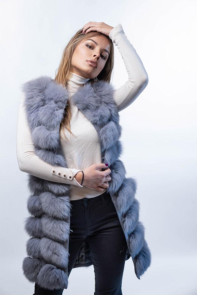 Krzneni prsluk - Natalie - Siva