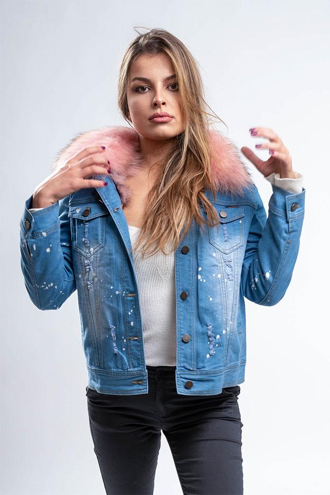 Ženska zimska jakna - Teksas - Fratteli Gabi - Roze krzno