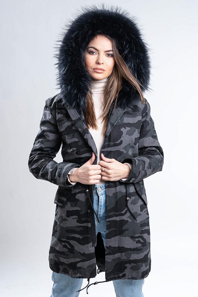 Ženska zimska jakna - Parka - Fratteli Eleonora - Maskirna