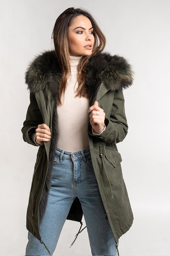 Ženska zimska jakna - Parka - Fratteli Simona - Zelena