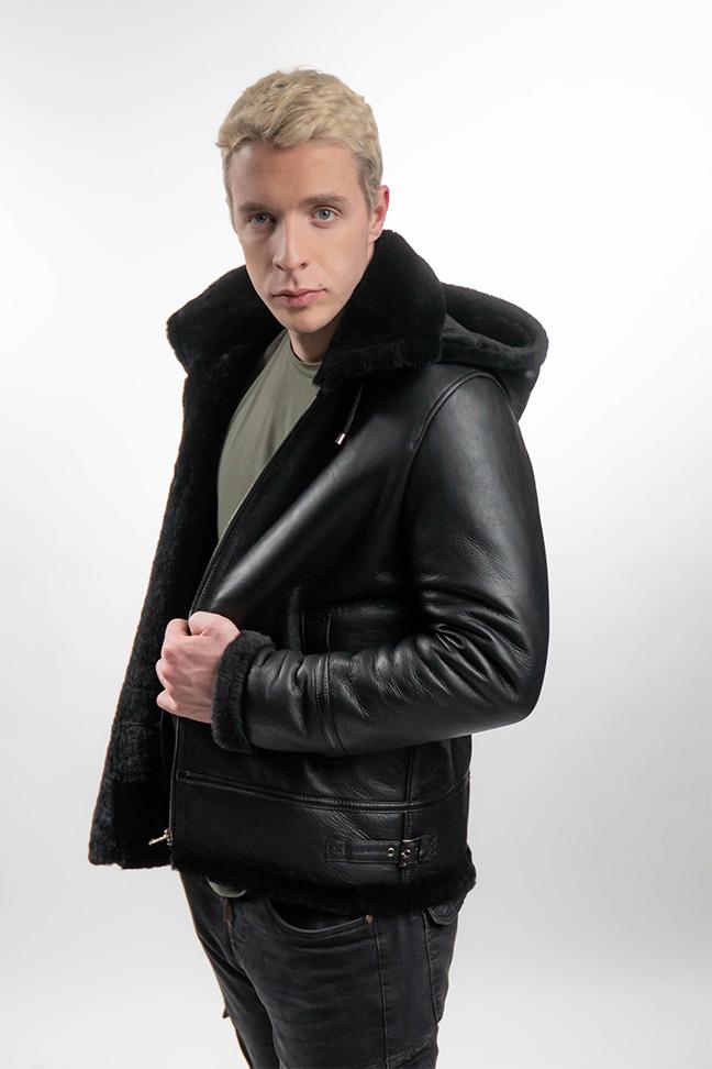 Muški monton - Bryan - Crna, crno krzno