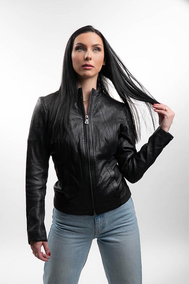 Ženska kožna jakna - Fratteli Andrea - Crna