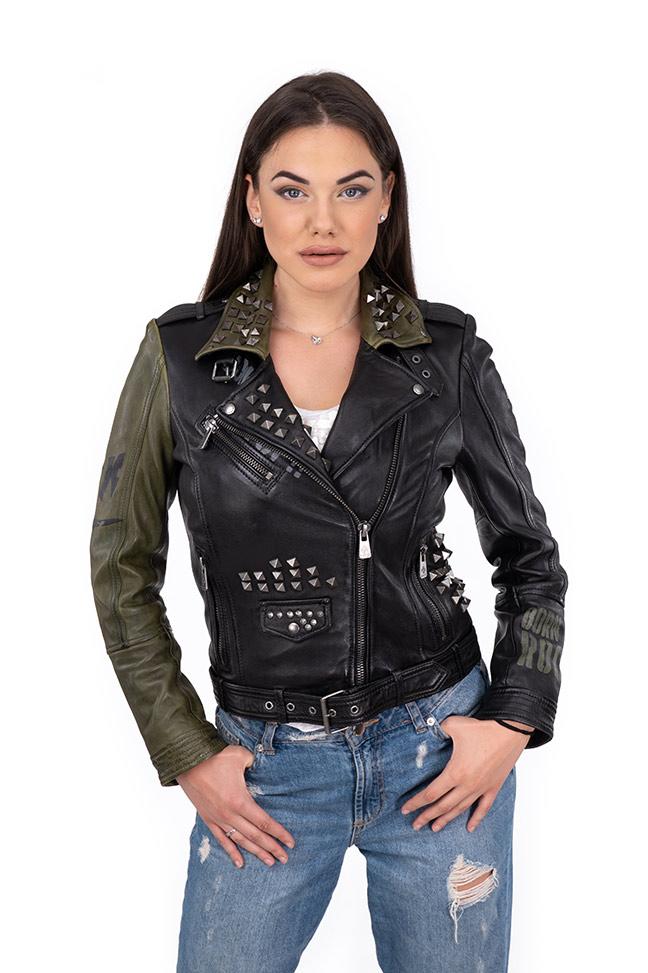 Ženska kožna jakna – Invento Irena – Crno - zelena
