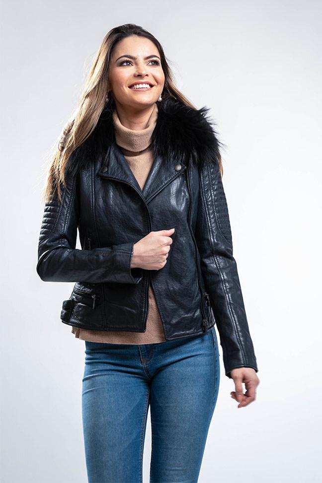 Ženska kožna jakna sa krznom - Invento Daria - Teget