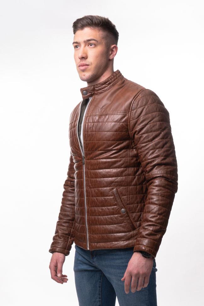 Muška kožna jakna - Azuro - Braon