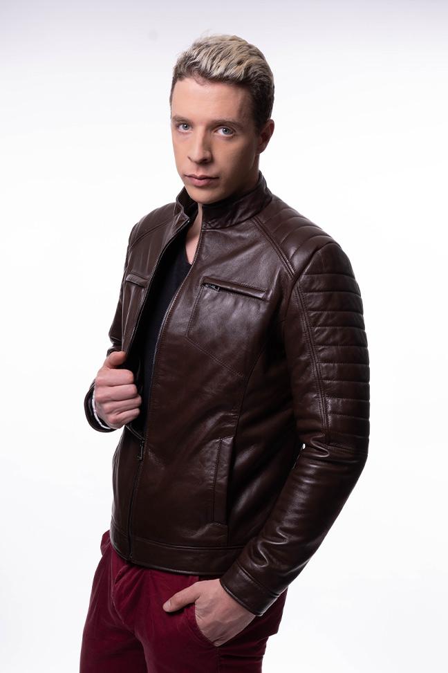 Muška kožna jakna - Dilan - Braon