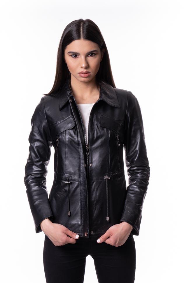 Ženska kožna jakna - Cristal - Crna
