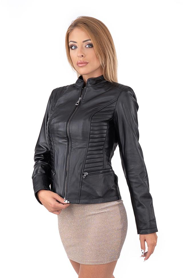 Ženska kožna jakna - Doris - Crna
