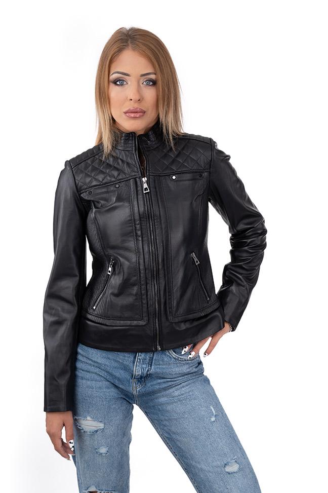 Ženska kožna jakna - Kaya - Crna