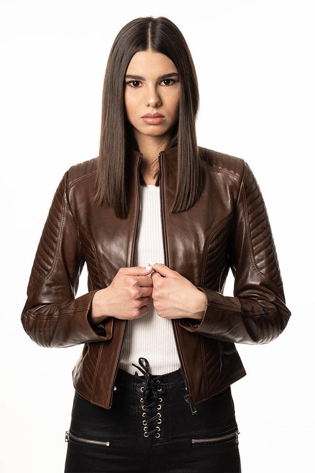 Ženska kožna jakna - Viktory - Braon