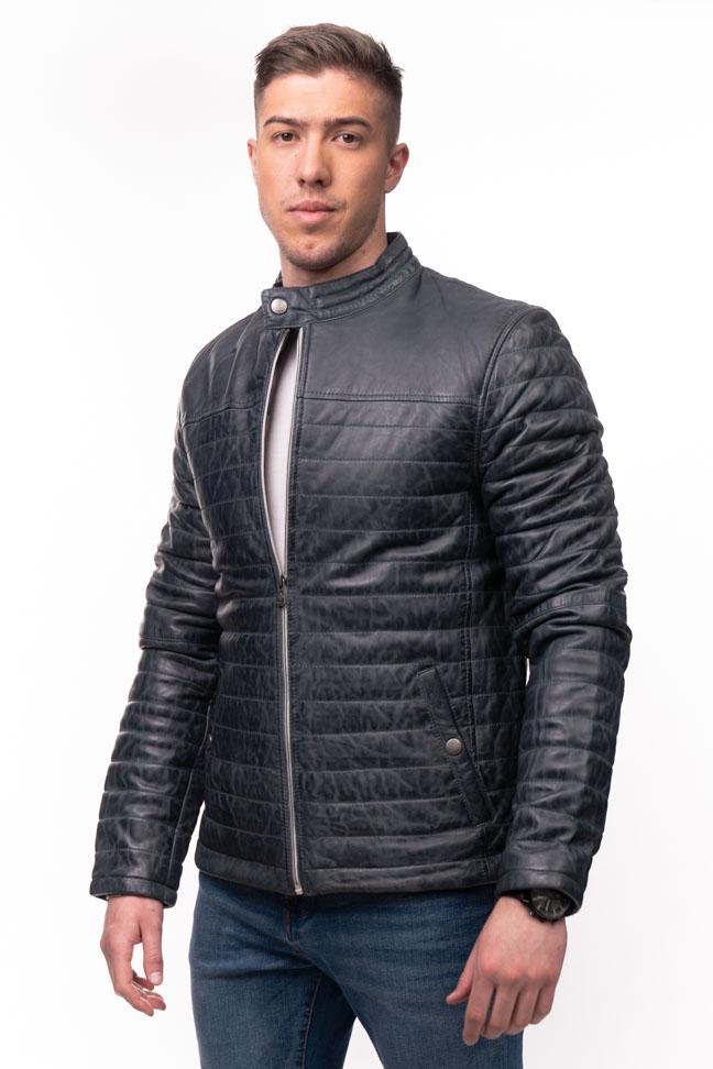 Muška kožna jakna - Azuro - Teget