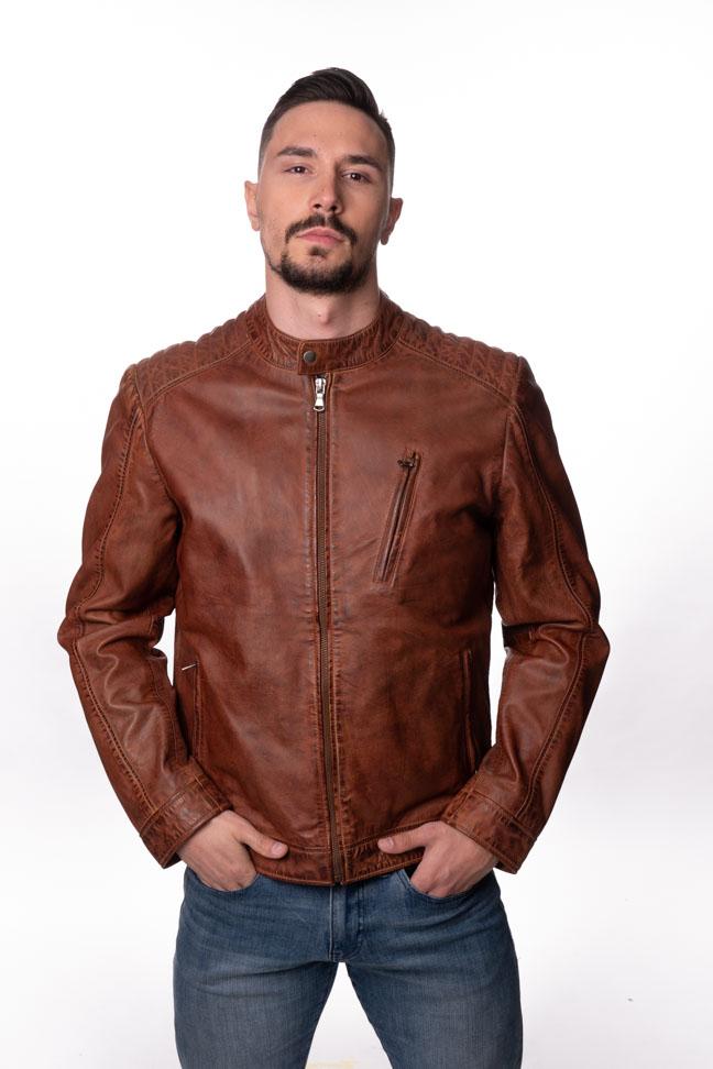 Muška kožna jakna - Fratteli F-1 - Braon