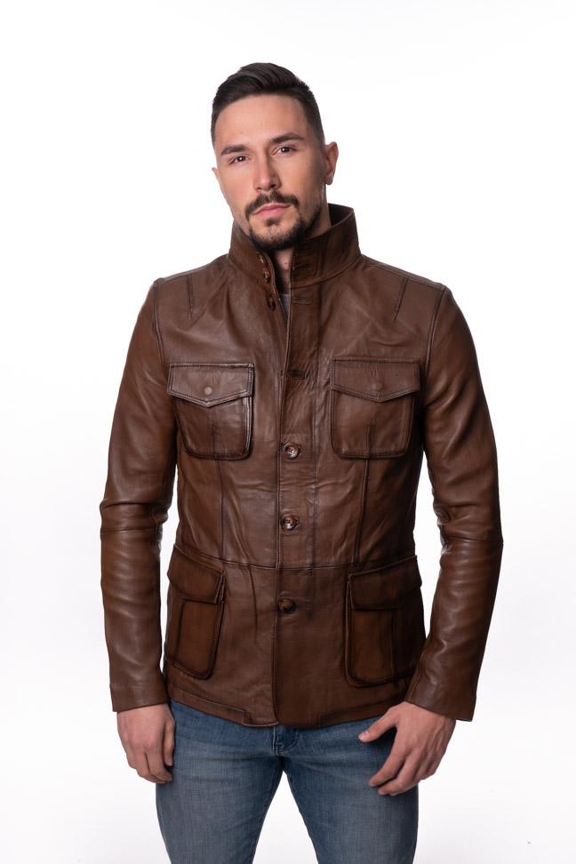 Muška kožna jakna - Hugo - Svetlo braon melirana
