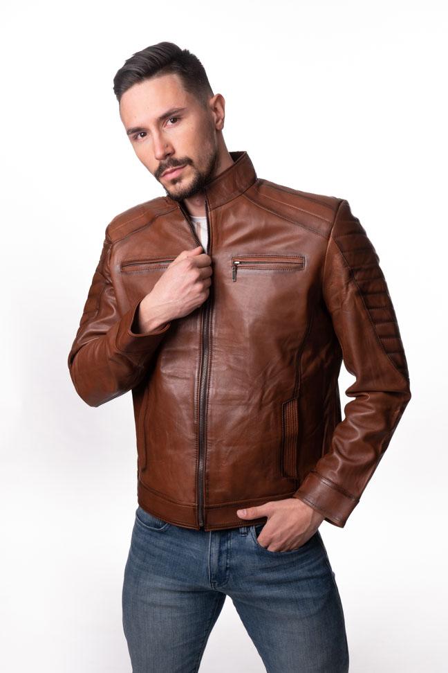 Muška kožna jakna - Ricky - Braon