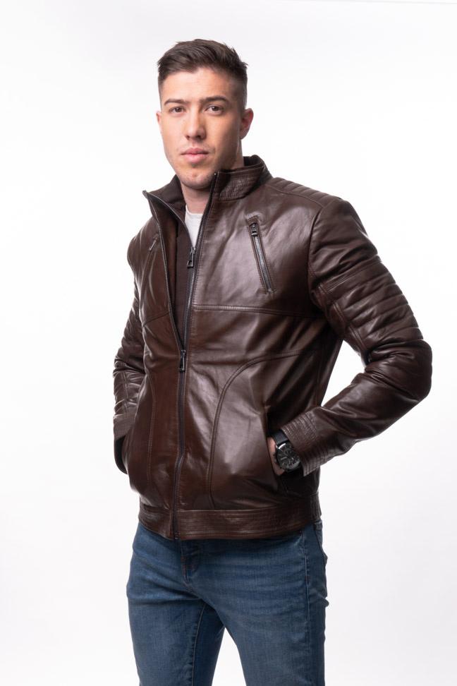 Muška kožna jakna - Roberto - Braon