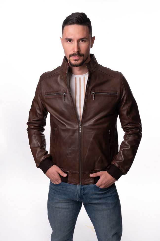 Muška kožna jakna - Ted - Braon