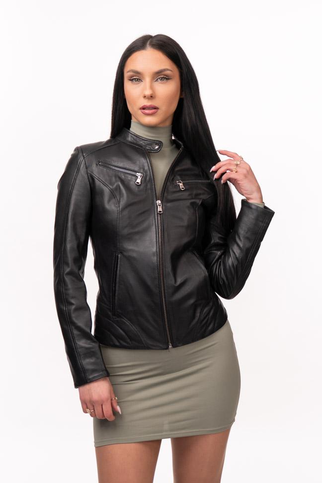 Ženska kožna jakna – Lara – Crna