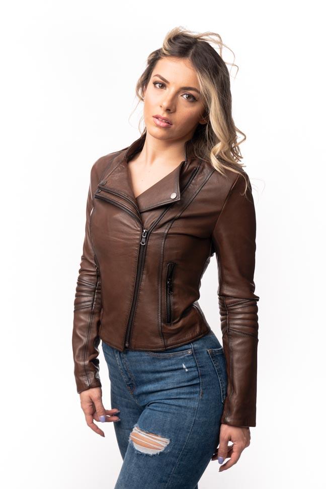 Ženska kožna jakna - Joanna - Braon