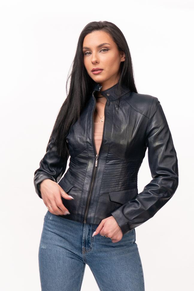 Ženska kožna jakna - Julia - Teget