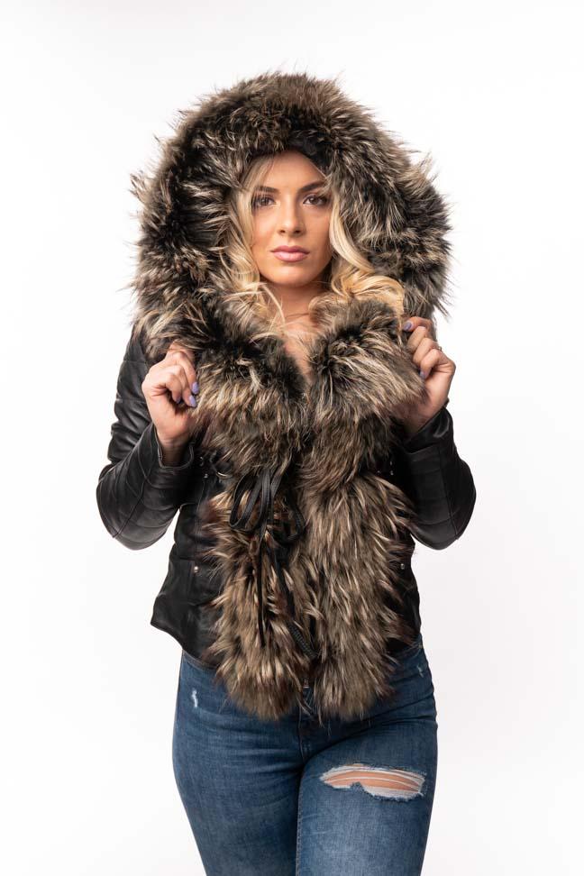 Ženska kožna jakna sa krznom - Stephanie - Crna, šareno krzno