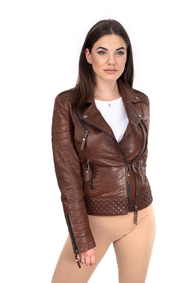 Ženska kožna jakna - Brigitte - Krispi - Tamno braon