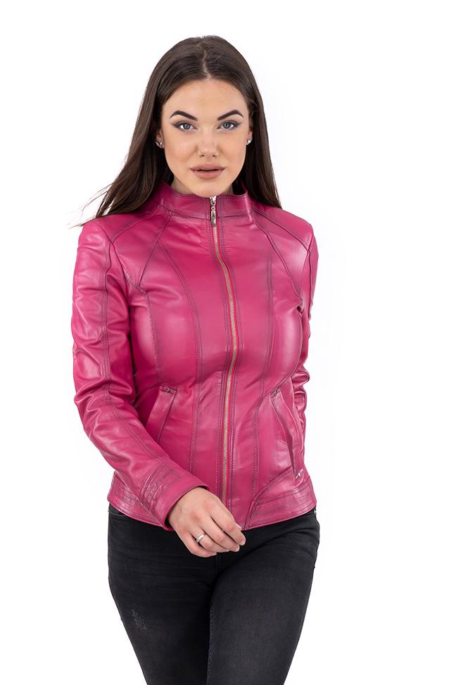 Ženska kožna jakna - Elena - Roze