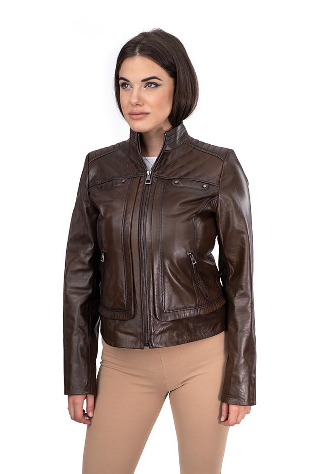 Ženska kožna jakna - Kaya - Braon