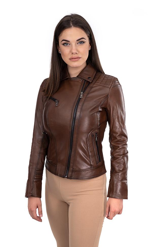 Ženska kožna jakna - Ramona - Braon