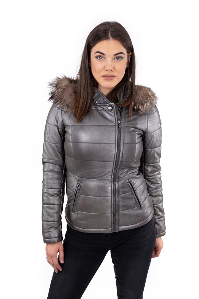 Ženska kožna jakna sa krznom - Invento Lilly - Siva