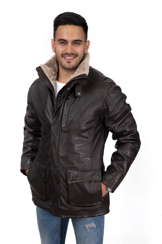 Muška kožna jakna - Invento Tierce - Braon