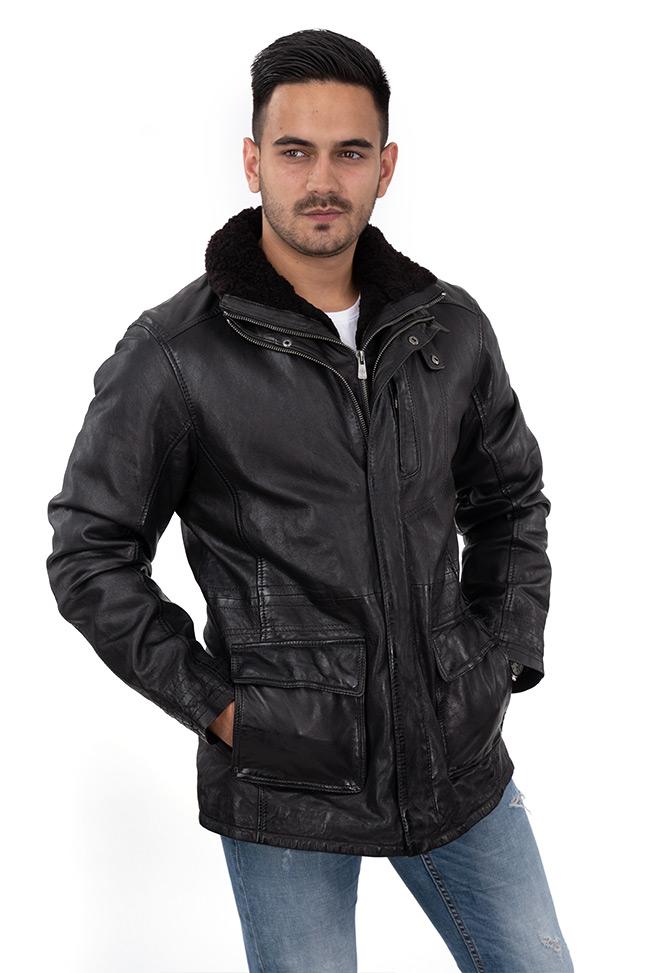 Muška kožna jakna - Invento Tierce - Crna