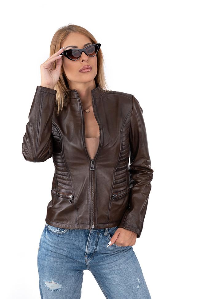 Ženska kožna jakna - Doris - Tamno braon melirana