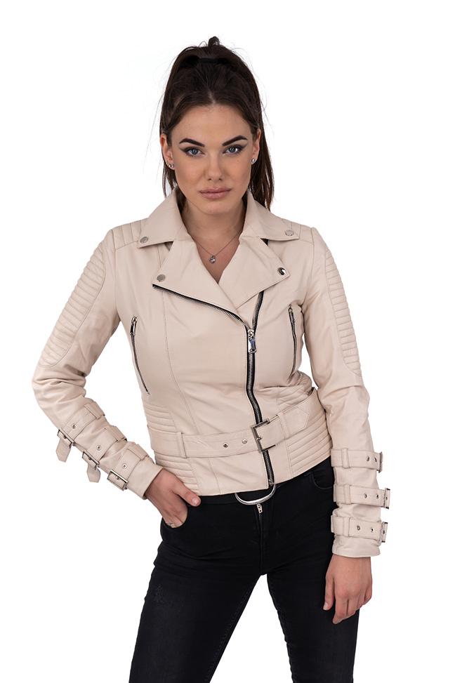 Ženska kožna jakna - Erica - Bež