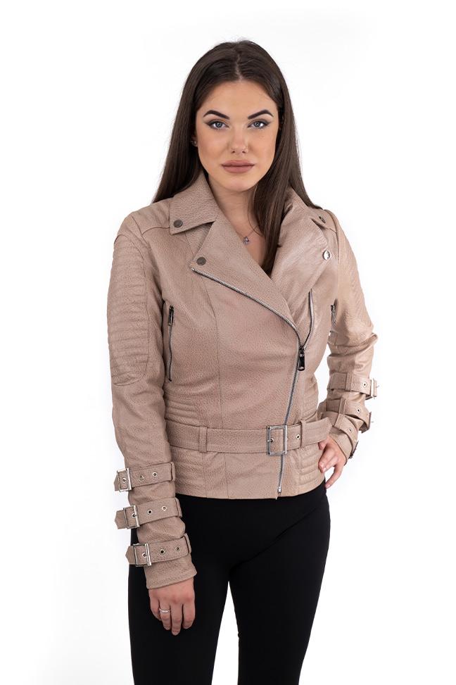 Ženska kožna jakna - Erica - Krispi - Bež
