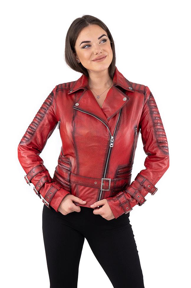 Ženska kožna jakna - Erica - Krispi - Crvena melirana
