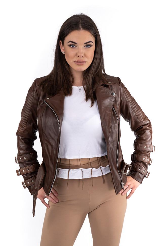 Ženska kožna jakna - Erica - Tamno braon