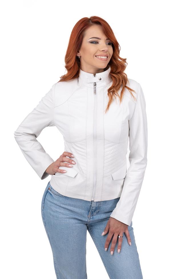 Ženska kožna jakna - Julia - Bela