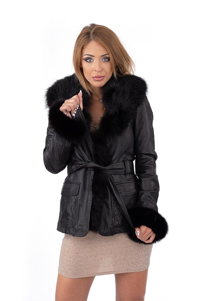 Ženska kožna jakna sa krznom - Fratteli - PB120018 - Crna
