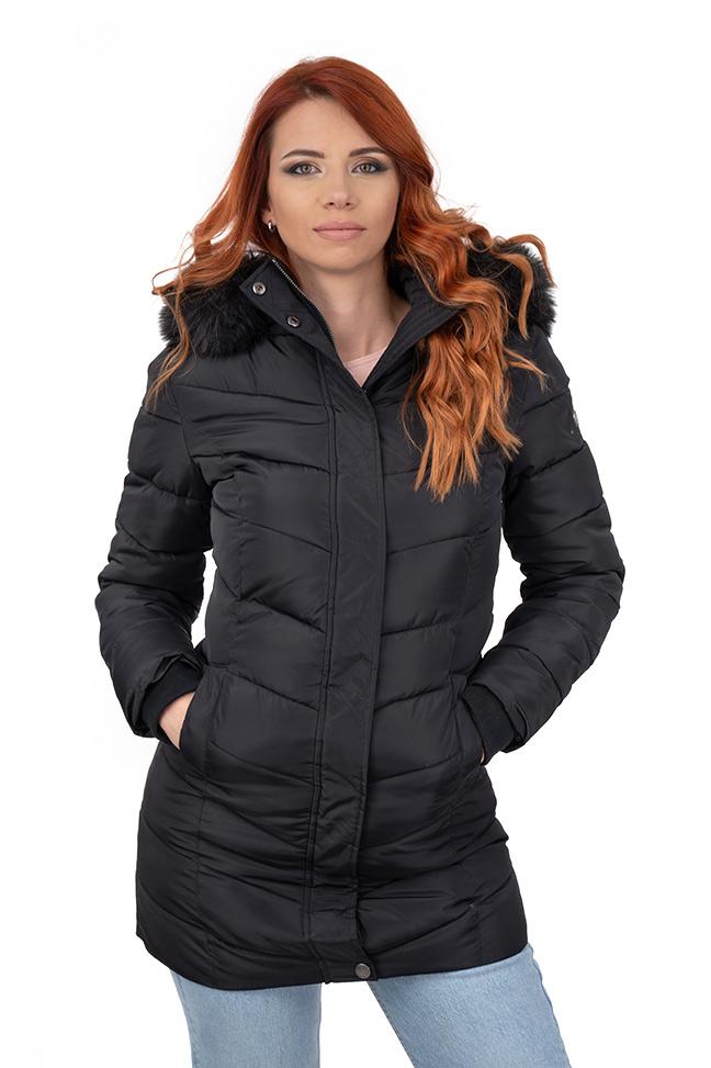 Ženska zimska jakna - Sportska i Casual - Invento Fibby long - Crna